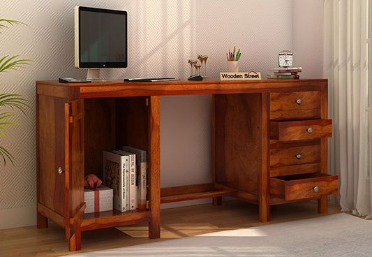 Desk With Drawer And Cabinet