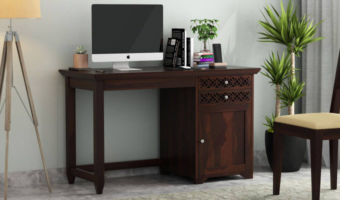 Cambrey Office Table (Walnut Finish)-1
