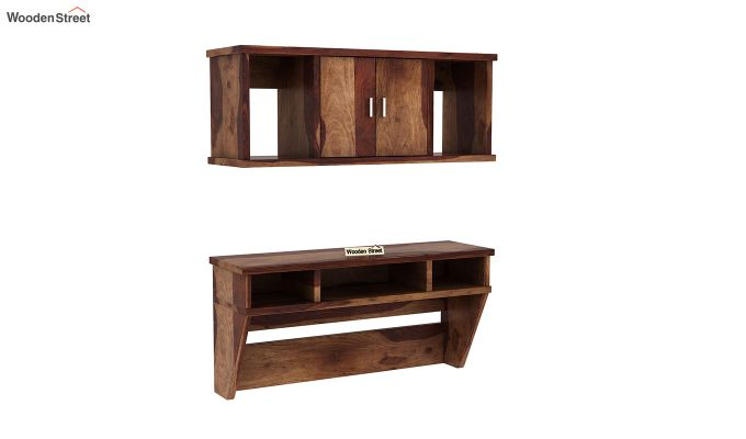 Canyon Wall-Mount Study Table With Shelf (Teak Finish)-2