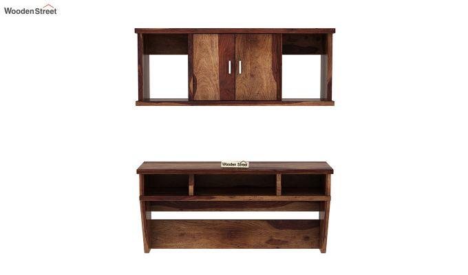 Canyon Wall-Mount Study Table With Shelf (Teak Finish)-3