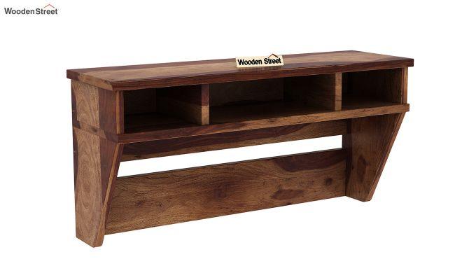 Canyon Wall-Mount Study Table With Shelf (Teak Finish)-4