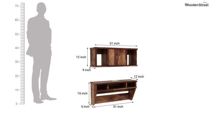 Canyon Wall-Mount Study Table With Shelf (Teak Finish)-8