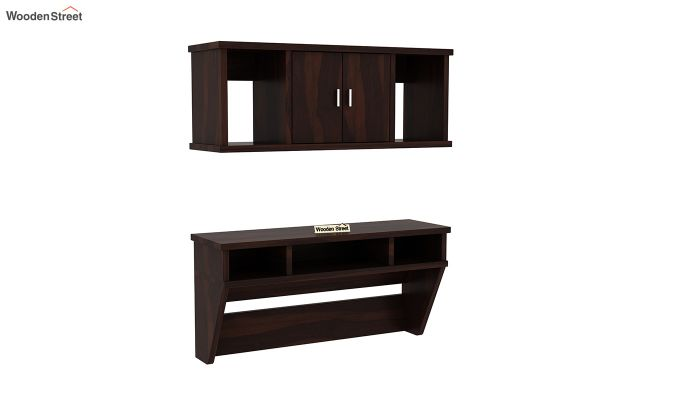 Canyon Wall-Mount Study Table With Shelf (Walnut Finish)-2