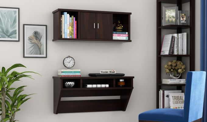 Canyon Wall-Mount Study Table With Shelf (Walnut Finish)-1