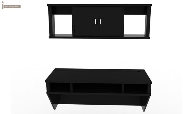 Canyon Wall-Mount Study Table With Shelf (Black Finish)-4