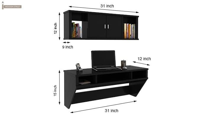 Canyon Wall-Mount Study Table With Shelf (Black Finish)-6