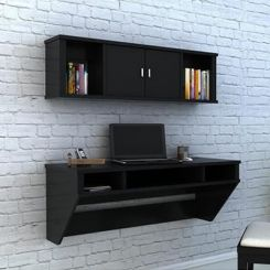 Canyon Wall-Mount Study Table With Shelf (Black Finish)