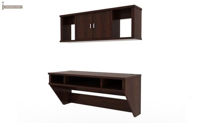 Canyon Wall-Mount Study Table With Shelf (Walnut Finish)-3