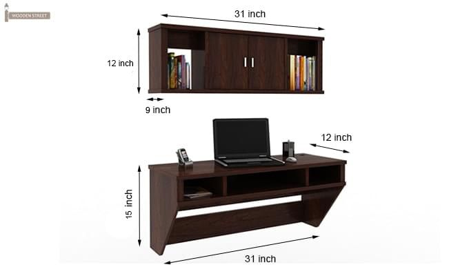 Canyon Wall-Mount Study Table With Shelf (Walnut Finish)-6
