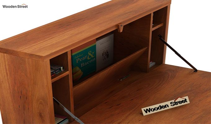 Carmel Wall Mounted Desk (Honey Finish)-5