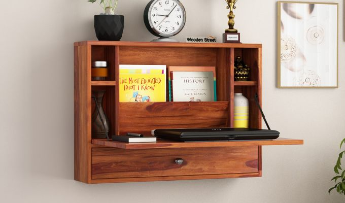 Carmel Wall Mounted Desk (Honey Finish)-1