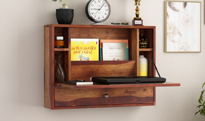 Carmel Wall Mounted Desk (Teak Finish)-1