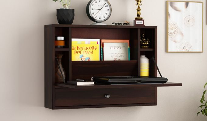Carmel Wall Mounted Desk (Walnut Finish)-1