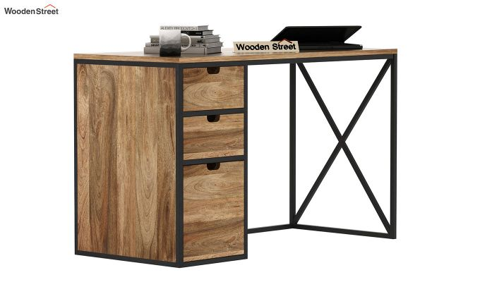 Carvo Study Table With Storage Drawers (Natural Finish)-2
