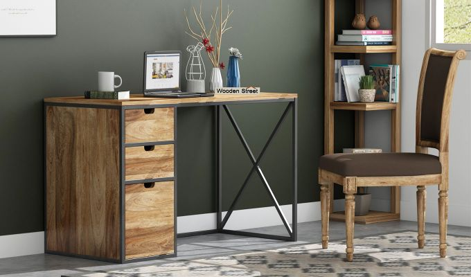Carvo Study Table With Storage Drawers (Natural Finish)-1