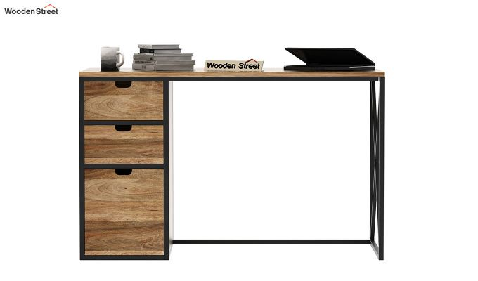 Carvo Study Table With Storage Drawers (Natural Finish)-3