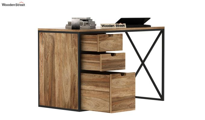 Carvo Study Table With Storage Drawers (Natural Finish)-4