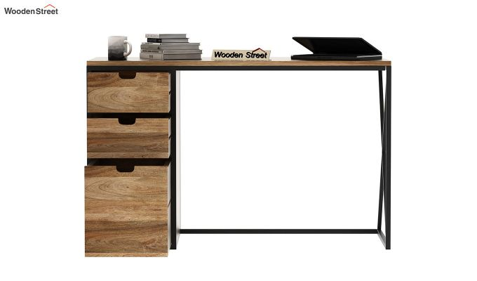 Carvo Study Table With Storage Drawers (Natural Finish)-5
