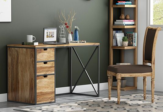Carvo Study Table With Storage Drawers (Natural Finish)