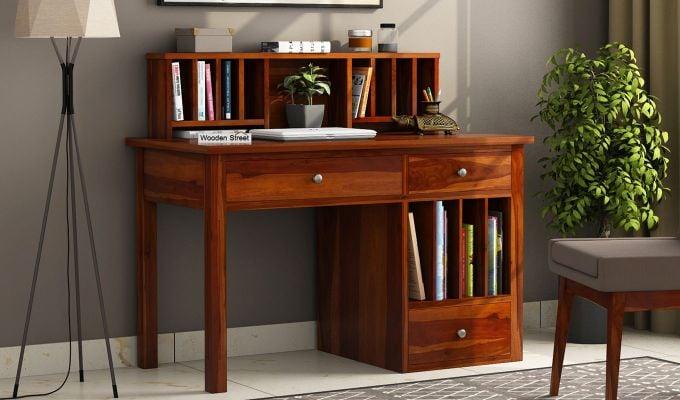 Cassidy Study Table (Honey Finish)-1