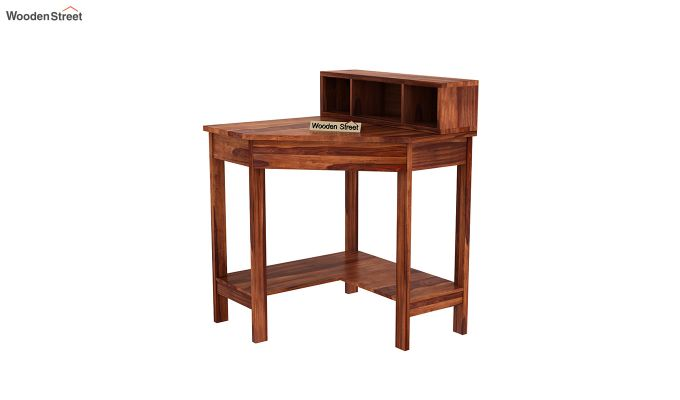 Eldor Study Table with Shelf (Honey Finish)-4
