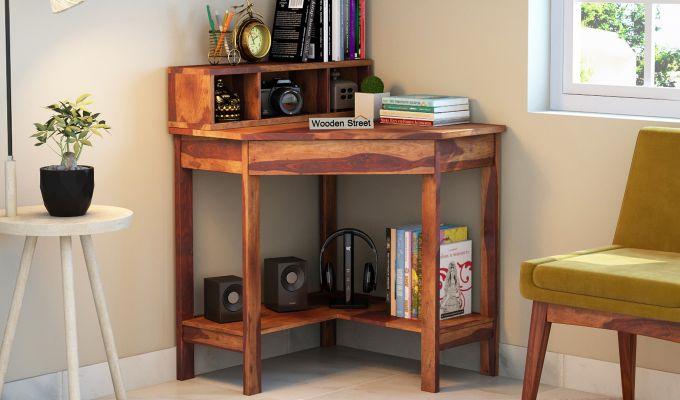 Eldor Kids Study Table with Shelf (Teak Finish)-1