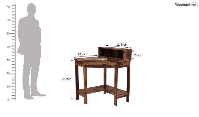 Eldor Kids Study Table with Shelf (Teak Finish)-8