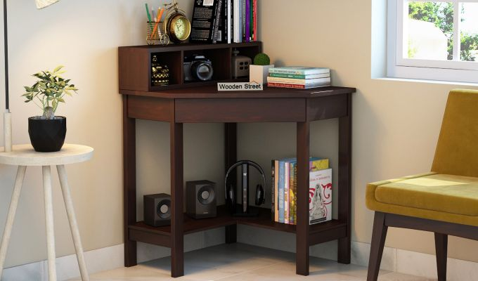 Eldor Study Table with Shelf (Walnut Finish)-1