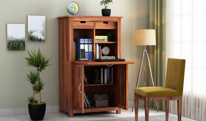 Feldon Study Table Cum Bookshelf (Honey Finish)-1