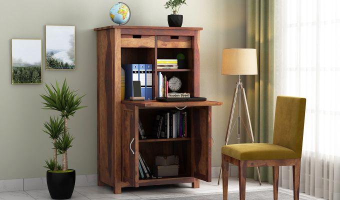 Feldon Study Table Cum Bookshelf (Teak Finish)-1