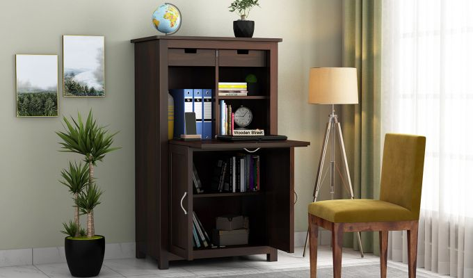 Feldon Study Table Cum Bookshelf (Walnut Finish)-1