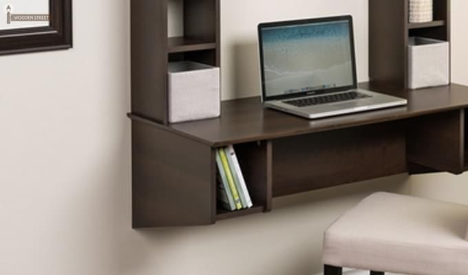 Gordon Wall Mounted Study Table (Mahogany Finish)-3