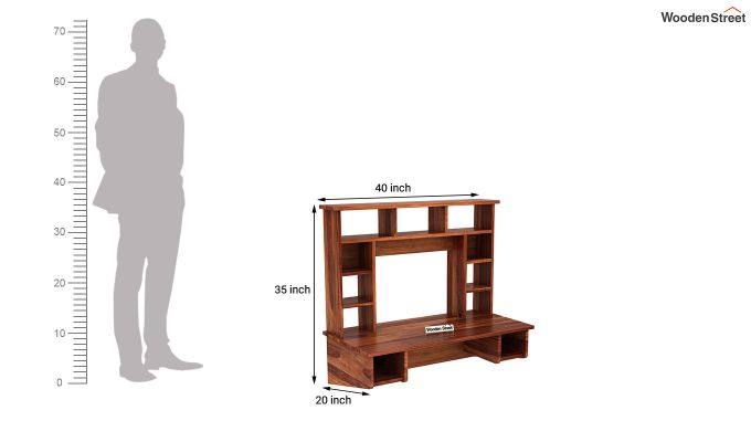 Gordon Wall Mounted Study Table (Honey Finish)-4