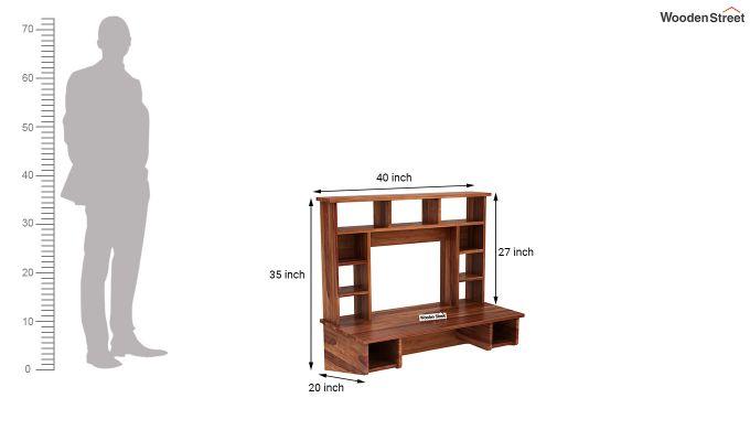 Gordon Wall Mounted Study Table (Teak Finish)-5