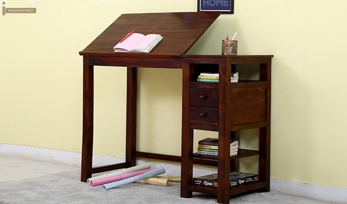 Graham Study Cum Drafting Table (Honey Finish)-1