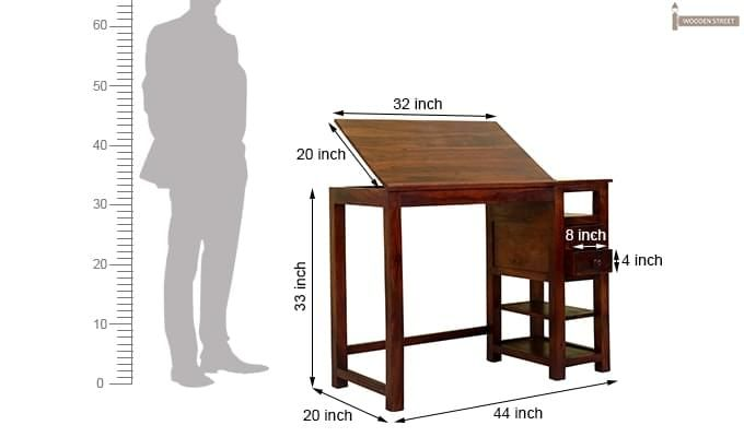 Graham Study Cum Drafting Table (Honey Finish)-5