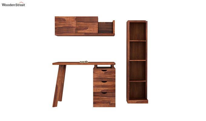 Grande Kids Study Table With Drawers (Honey Finish)-4
