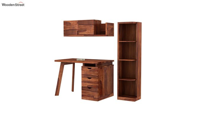 Grande Kids Study Table With Drawers (Honey Finish)-5