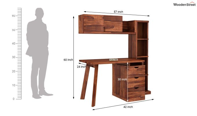 Grande Kids Study Table With Drawers (Honey Finish)-9