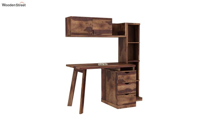 Grande Study Table With Drawers (Teak Finish)-2