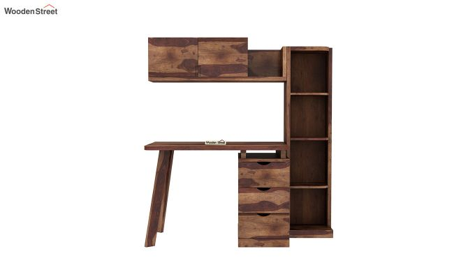Grande Study Table With Drawers (Teak Finish)-3