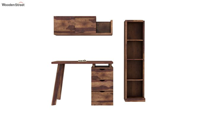 Grande Study Table With Drawers (Teak Finish)-4