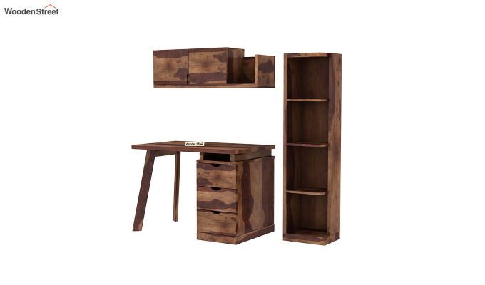 Grande Study Table With Drawers (Teak Finish)-5