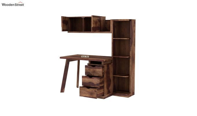 Grande Study Table With Drawers (Teak Finish)-6