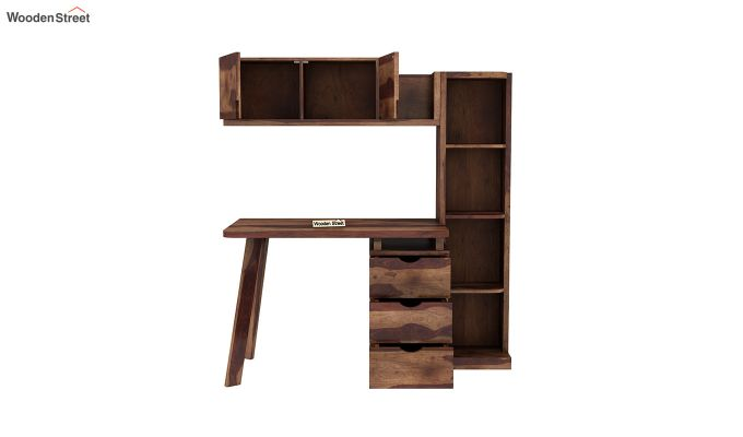 Grande Study Table With Drawers (Teak Finish)-7