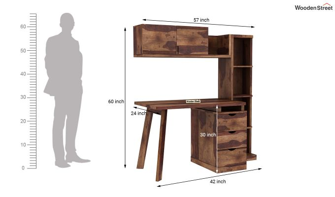 Grande Study Table With Drawers (Teak Finish)-9