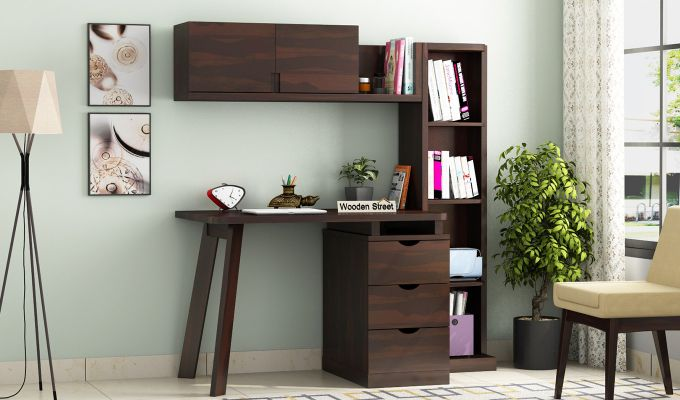 Grande Study Table With Drawers (Walnut Finish)-1