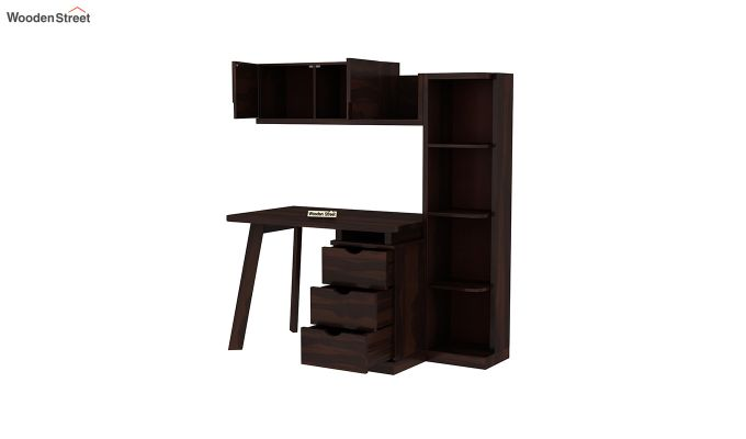 Grande Study Table With Drawers (Walnut Finish)-6