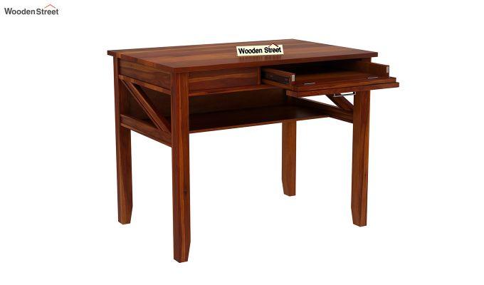 Hawkins Solid Wooden Computer Desk (Honey Finish)-7