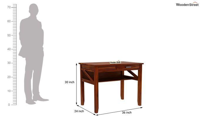 Hawkins Solid Wooden Computer Desk (Honey Finish)-10